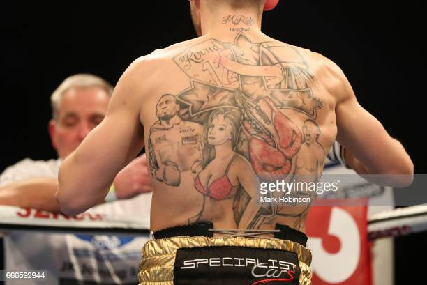 Liam Williams Tattoo on his back during his fight against Liam Smith at Manchester Arena on April 8 2017 in Manchester England