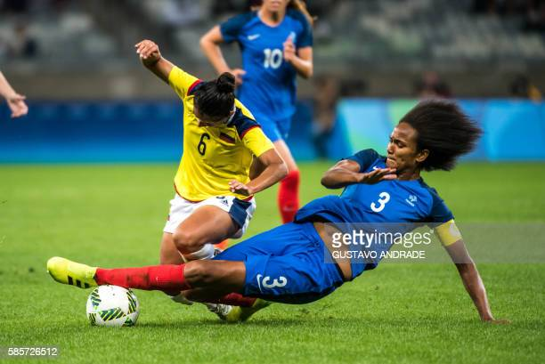 Liana Salazar of Colombia and Wendie Renard of France vie for the ball during a Rio 2016 Olympic Games first round Group G women's football match...