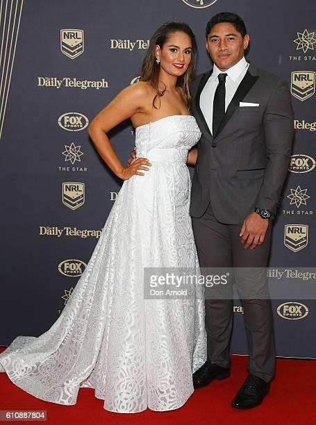 Liana Taumalolo and Jason Taumalolo arrives at the 2016 Dally M Awards at Star City on September 28 2016 in Sydney Australia