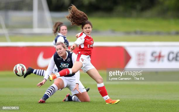 Liana Yara of Arsenal Ladies and Connie Waring of Millwall Lionesses during the FA Girls' Youth Cup Final between Millwall Lionesses U16 Vs Arsenal...
