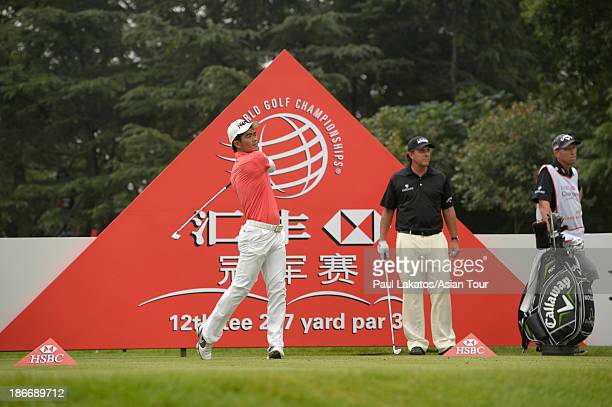 Liang Wen chong of China plays a shot during round four of the WGC HSBC Champions at Sheshan International Golf Club on November 3 2013 in Shanghai...