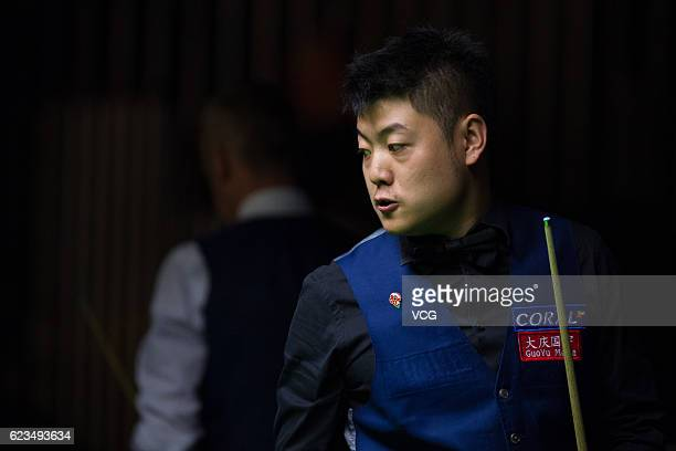 Liang Wenbo of China reacts during the first round match against Nigel Bond of England on day two of Coral Northern Ireland Open 2016 at Titanic...