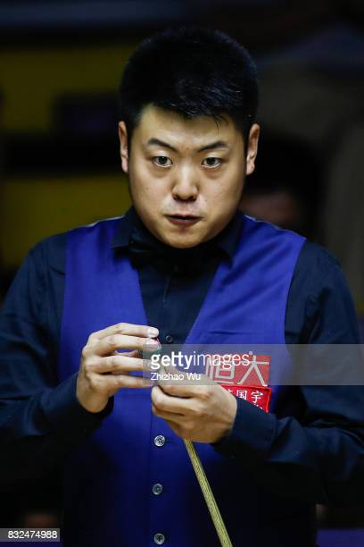 Liang Wenbo plays against Ian Burns during the Evergrande 2017 World Snooker China Championship on August 16 2017 in Guangzhou China