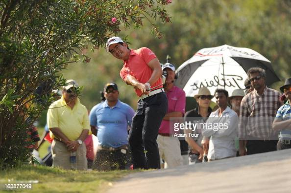 Liang Wenchong in action during day 4 of the Avantha Masters at Jaypee Greens Golf Course on March 17 2013 in Noida India