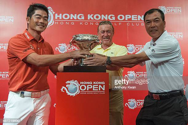 Liang WenChong Miguel Angel Jimenez and Zhang Lianwei at Hong Kong Golf Open Championship Press Conference on October 14 2014 in Hong Kong