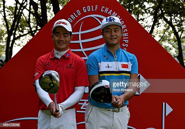 Liang Wenchong of China and Cao Yi of China on the 5th tee during a practice round prior to the the WGC HSBC Champions at the Sheshan International...