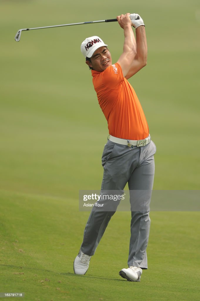 Liang Wenchong of China in action during day 3 of the Avantha Masters at Jaypee Greens Golf Course on March 16, 2013 in Noida, India.