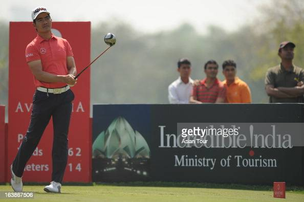 Liang Wenchong of China in action during day 4 of the Avantha Masters at Jaypee Greens Golf Course on March 17 2013 in Noida India