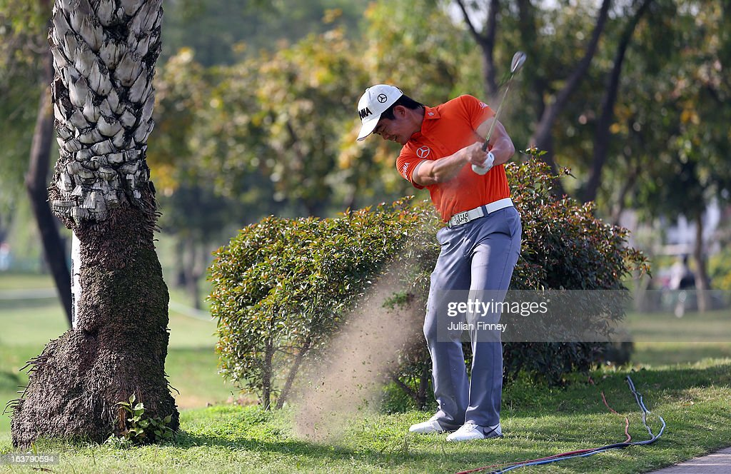 Liang Wenchong of China in action during day three of the Avantha Masters at Jaypee Greens Golf Club on March 16, 2013 in Delhi, India.