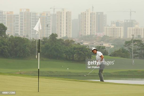 Liang WenChong of China in action during round two of the 2014 Volvo China Open at Genzon Golf Club on April 25 2014 in Shenzhen China