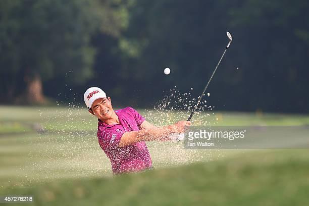 Liang WenChong of China in action during the first round of the 2014 Hong Kong open at The Hong Kong Golf Club on October 16 2014 in Hong Kong Hong...