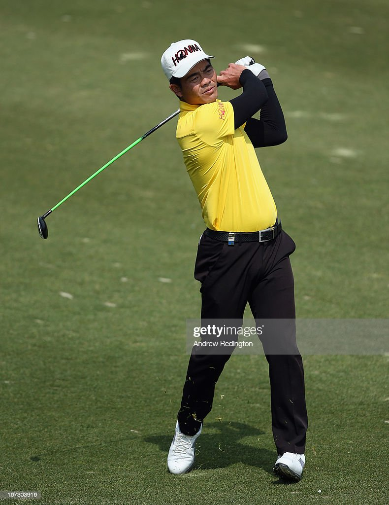 Liang Wen-chong of China in action during the Pro Am tournament prior to the start of the Ballantine's Championship at Blackstone Golf Club on April 24, 2013 in Icheon, South Korea.