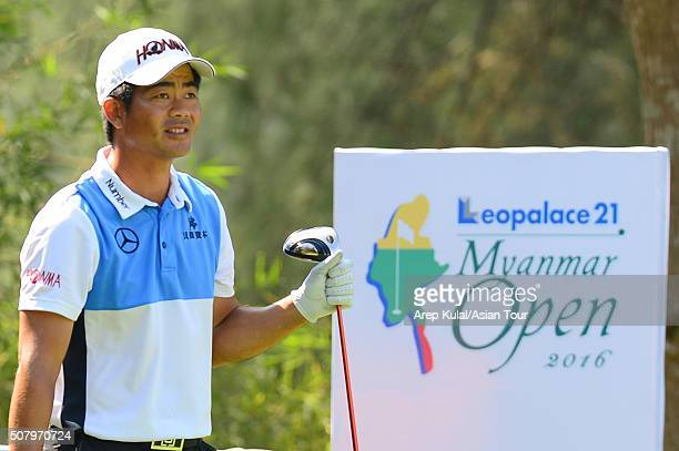 Liang Wenchong of China plays a shot during practice ahead of the Leopalace21 Myanmar Open at Royal Mingalardon Golf and Country Club on February 2...
