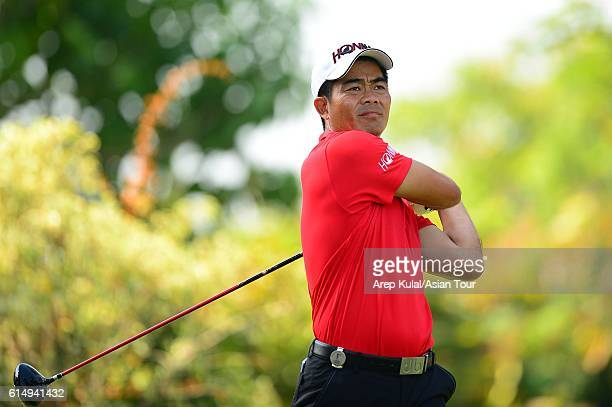 Liang Wenchong of China plays a shot during round four of the 2016 Venetian Macao Open at Macau Golf and Country Club on October 16 2016 in Macau...