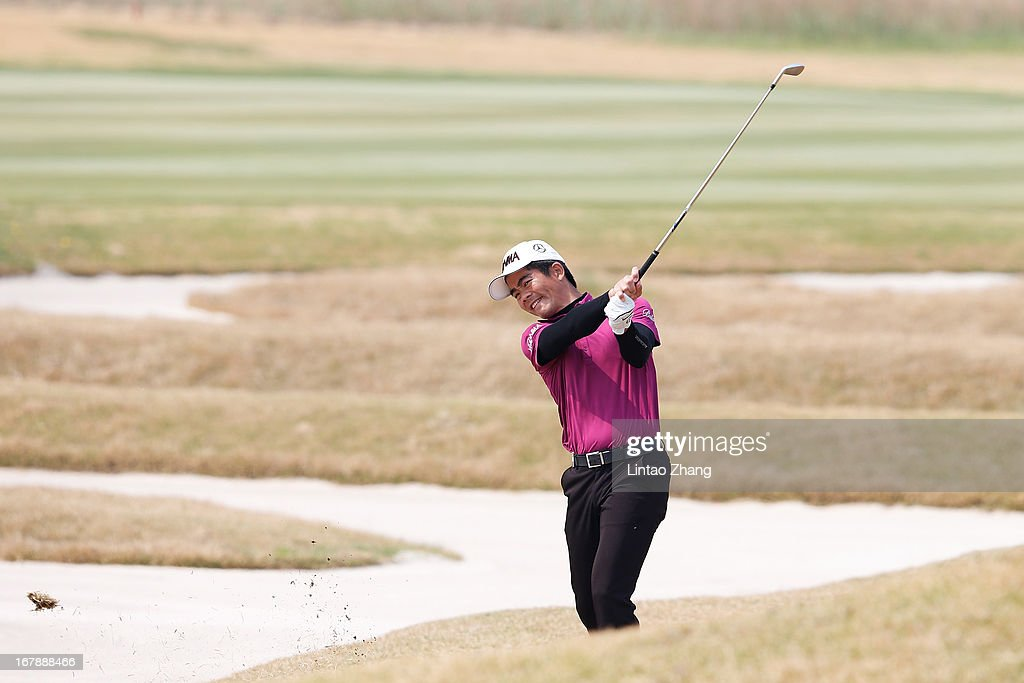 Liang Wen-chong of China plays a shot during the first day of the Volvo China Open at Binhai Lake Golf Course on May 2, 2013 in Tianjin, China.