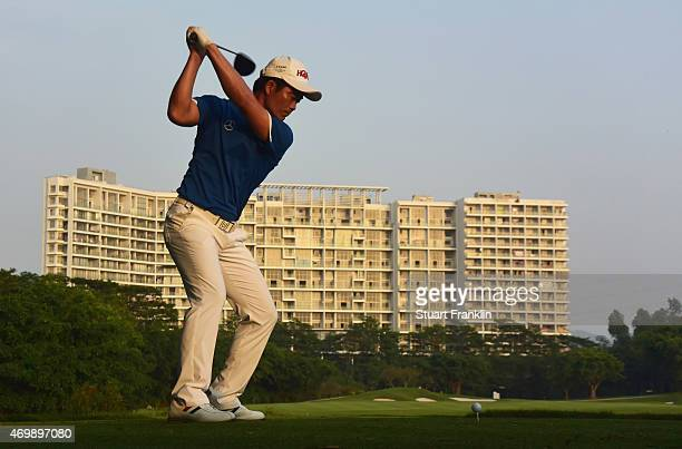 Liang WenChong of China plays a shot during the first round of the Shenzhen International at Genzon Golf Club on April 16 2015 in Shenzhen China