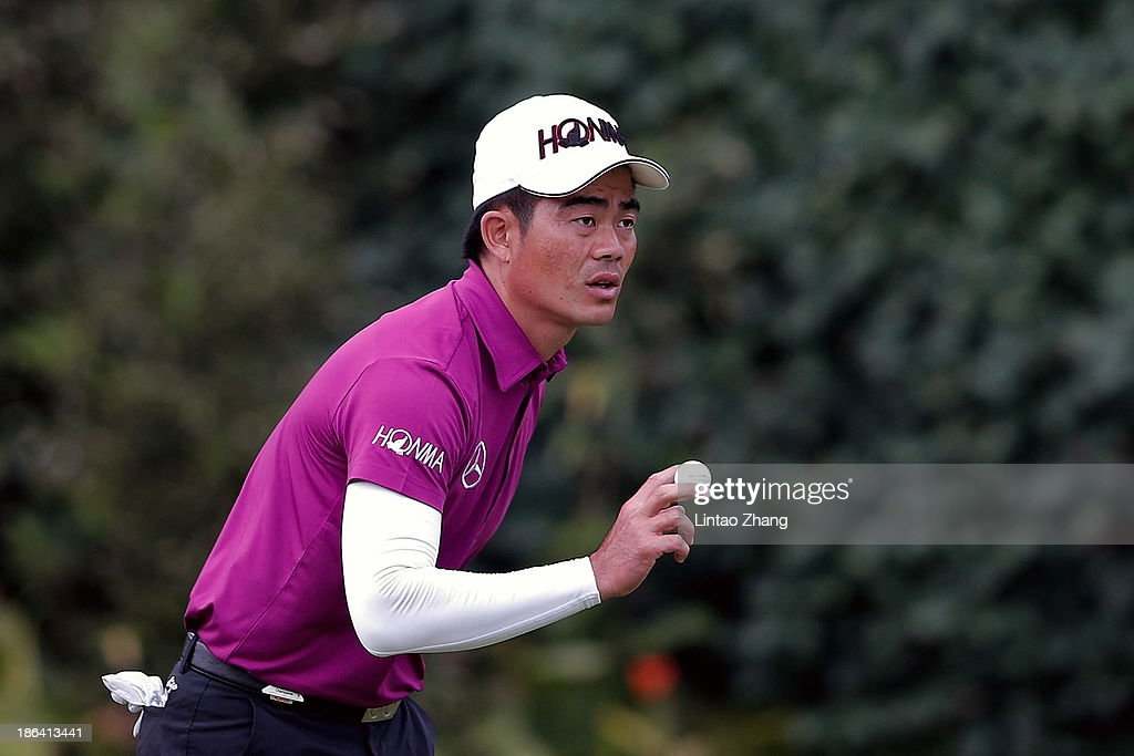 Liang Wenchong of China reacts during the first round of the WGC-HSBC Champions at the Sheshan International Golf Club on October 31, 2013 in Shanghai, China.