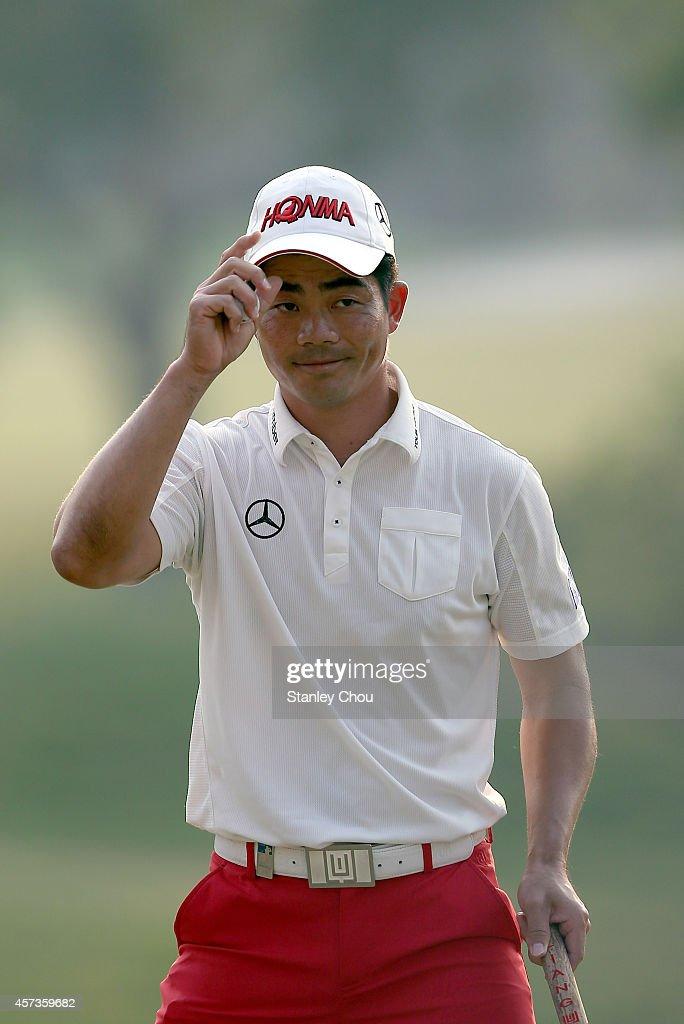 Liang Wen-chong of China reacts on the 18th hole during the 2nd round of the 2014 Hong Kong open at The Hong Kong Golf Club at The Hong Kong Golf Club on October 17, 2014 in Hong Kong, Hong Kong.