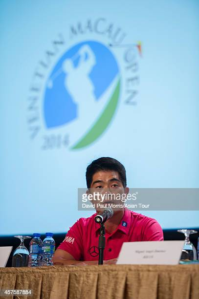 Liang Wenchong of China speaks during the press conference of the 2014 Venetian Macau Open on October 21 in Macau China