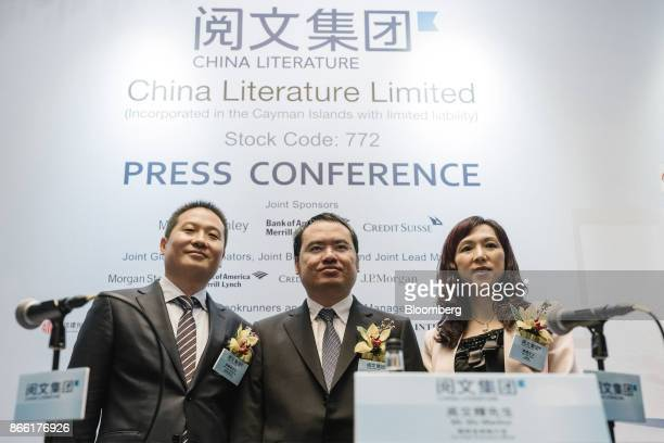 Liang Xiaodong cochief executive officer and executive director of China Literature Ltd left Wu Wenhui cochief executive officer and executive...