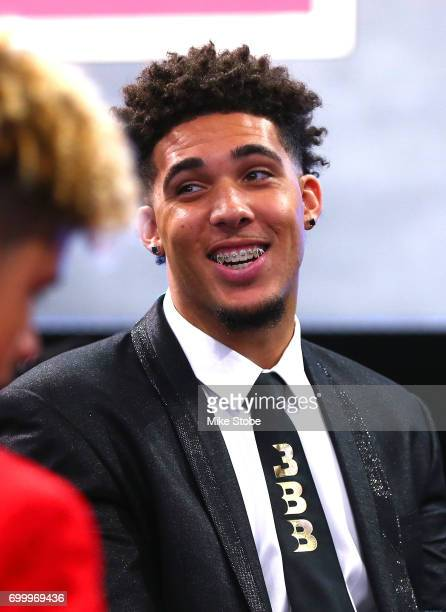 LiAngelo Ball brother of potential draft pick Lonzo Ball looks on before the first round of the 2017 NBA Draft at Barclays Center on June 22 2017 in...