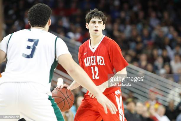 LiAngelo Ball of Chino Hills High School defends Spencer Freedman of Mater Dei High School during the game between Chino Hills High School and Mater...