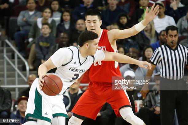 LiAngelo Ball of Chino Hills High School drives the ball to the basket during the game against Mater Dei High School at the Galen Center on February...