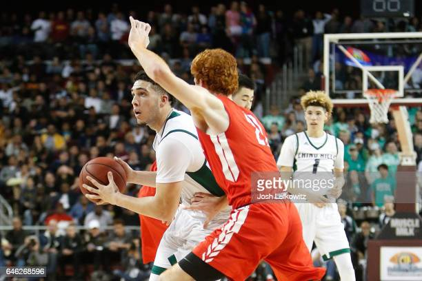 LiAngelo Ball of Chino Hills High School looks to pass the ball during the game against Mater Dei High School at the Galen Center on February 24 2017...