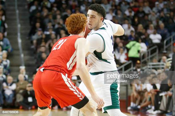 LiAngelo Ball of Chino Hills High School protects the ball during the game against Mater Dei High School at the Galen Center on February 24 2017 in...