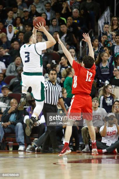 LiAngelo Ball of Chino Hills High School shoots the ball over Spencer Freedman of Mater Dei High School during the game between Chino Hills High...