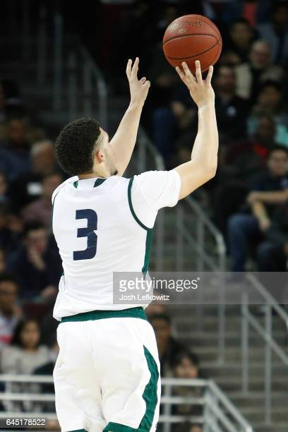LiAngelo Ball of Chino Hills High School shoots the threepointer during the game against Mater Dei High School at the Galen Center on February 24...