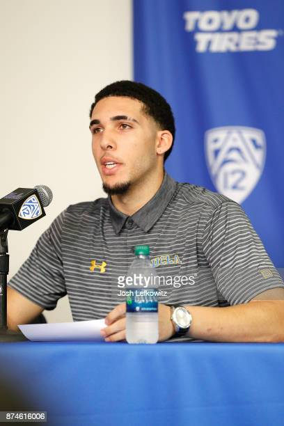 LiAngelo Ball speaks to the media during a press conference at Pauley Pavilion on November 15 2017 in Los Angeles California Ball and two teammates...