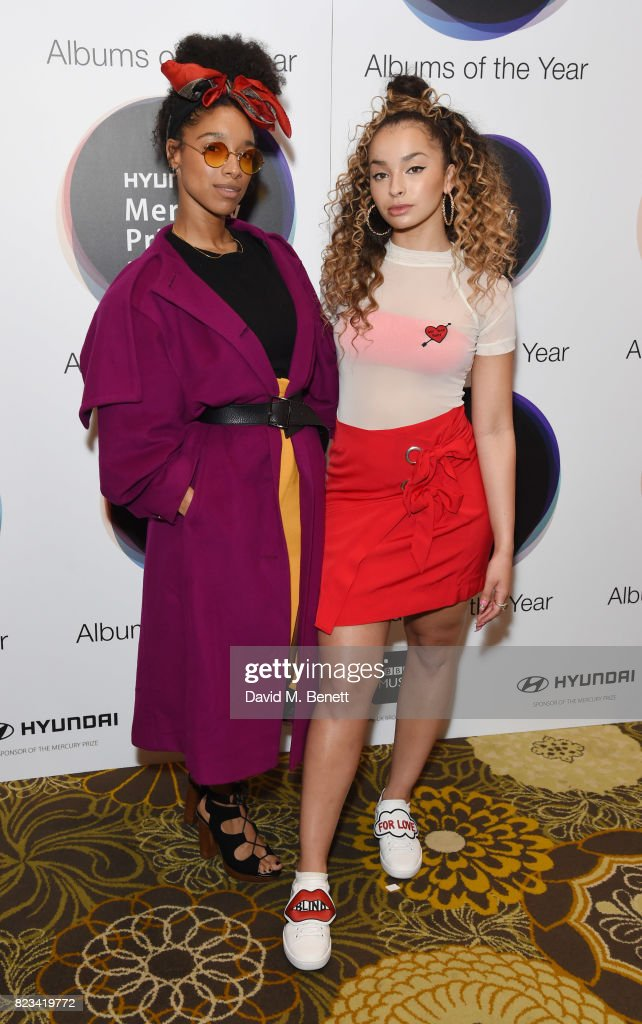 Lianne La Havas and Ella Eyre attend the nominations of the Hyundai Mercury Prize at The Langham Hotel on July 27, 2017 in London, England.