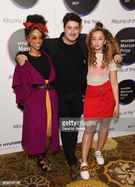 Lianne La Havas Marcus Mumford and Ella Eyre attend the nominations of the Hyundai Mercury Prize at The Langham Hotel on July 27 2017 in London...