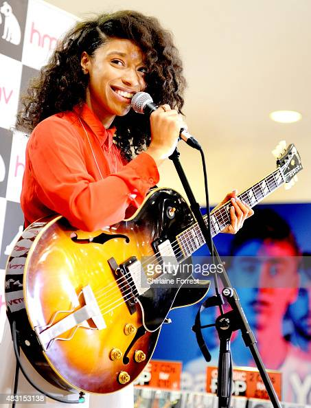 Lianne La Havas performs live and signs copies of her new album 'Blood' at HMV on August 6 2015 in Manchester England