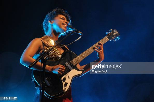 Lianne La Havas performs on stage as part of the annual Summer Series of openair concerts at Somerset House on July 13 2013 in London England