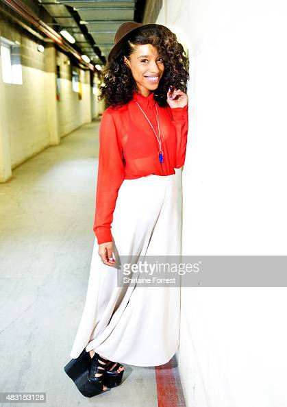 Lianne La Havas poses backstage before performing live and signing copies of her new album 'Blood' at HMV on August 6 2015 in Manchester England