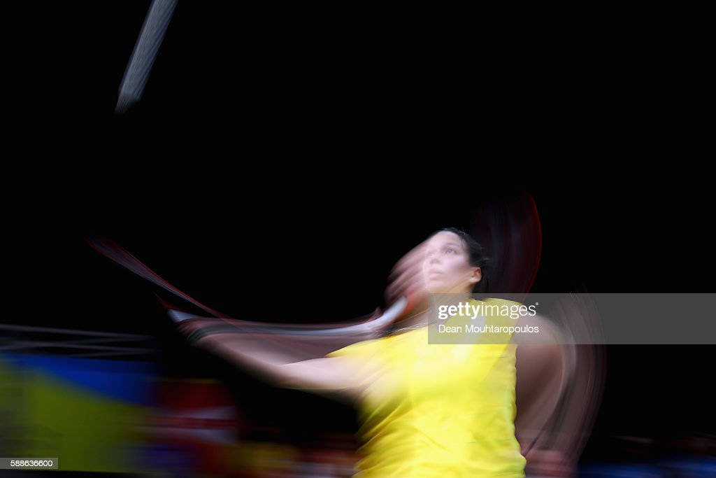 Lianne Tan of Belgium competes against Iris Wang of the United States of America or Team USA in the badminton Womens Singles on Day 6 of the 2016 Rio Olympics at Riocentro - Pavilion 4 on August 12, 2016 in Rio de Janeiro, Brazil.