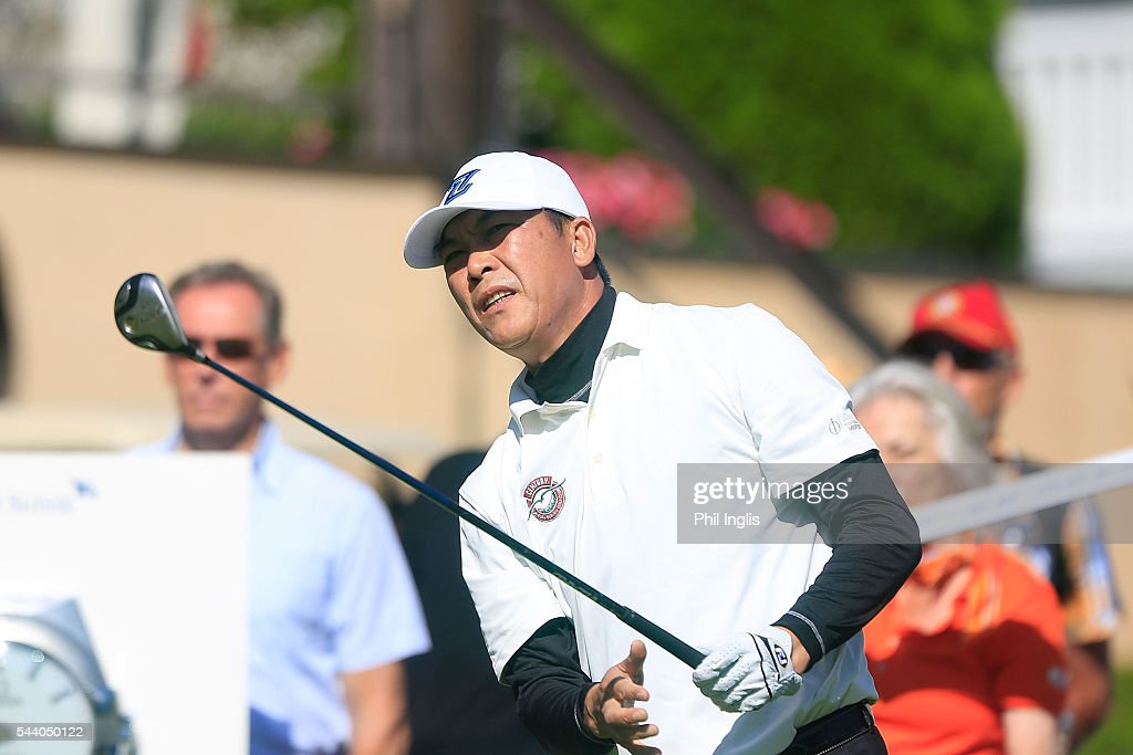 Lianwe Zhang of China in action during the the first round of the Swiss Seniors Open played at Golf Club Bad Ragaz on July 1, 2016 in Bad Ragaz, Switzerland.