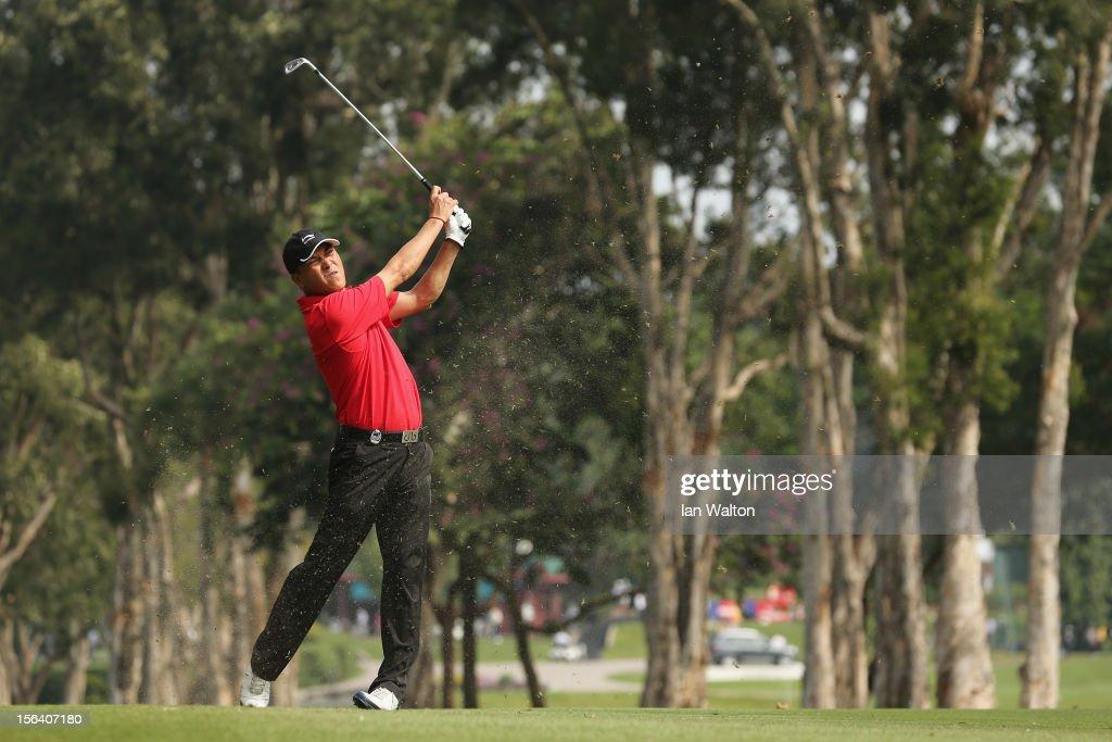 Lian-wei Zhang of China in action during first round of the UBS Hong Kong Open at The Hong Kong Golf Club on November 15, 2012 in Hong Kong, Hong Kong.