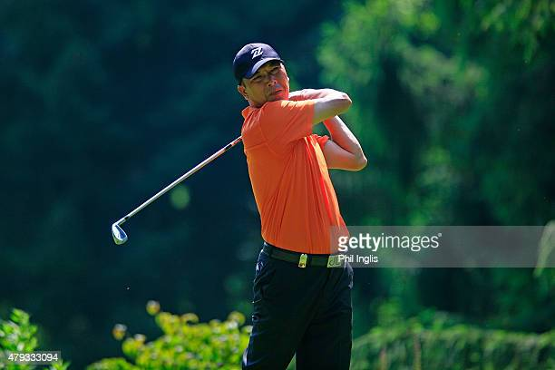 Lianwei Zhang of China in action during the first round of the Swiss Seniors Open played at Golf Club Bad Ragaz on July 3 2015 in Bad Ragaz...