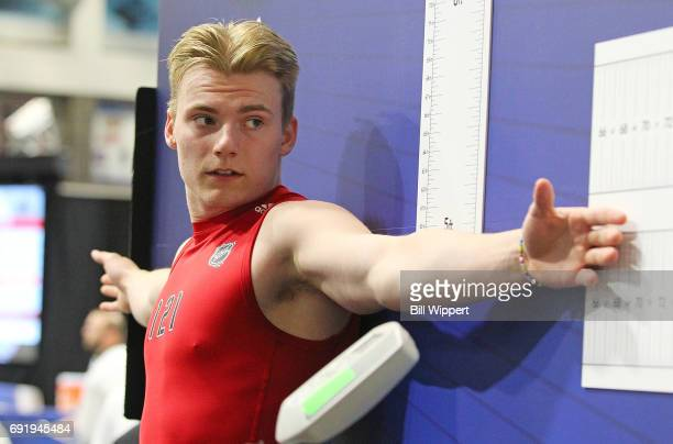 Lias Andersson has his Wingspan measured during the NHL Combine at HarborCenter on June 3 2017 in Buffalo New York