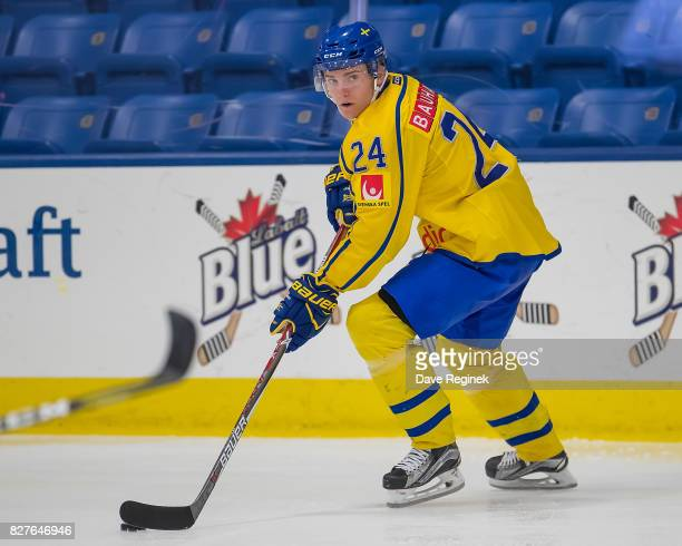 Lias Andersson of Sweden skates up ice with the puck against USA during a World Jr Summer Showcase game at USA Hockey Arena on August 2 2017 in...