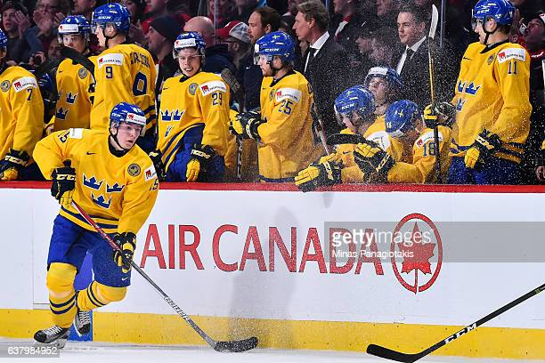 Lias Andersson of Team Sweden skates during the 2017 IIHF World Junior Championship semifinal game against Team Canada at the Bell Centre on January...