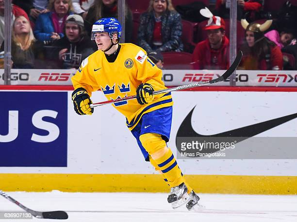 Lias Andersson of Team Sweden skates during the IIHF World Junior Championship preliminary round game against Team Denmark at the Bell Centre on...