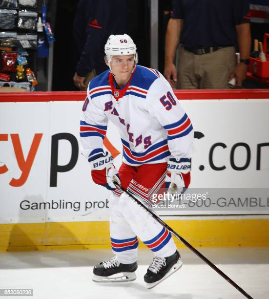 Lias Andersson of the New York Rangers skates in warmups prior to the game against the New Jersey Devils at the Prudential Center on September 23...