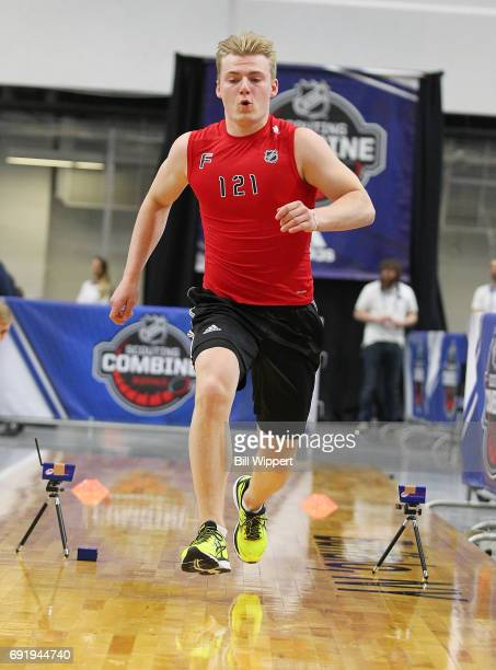 Lias Andersson performs the Pro Agility test during the NHL Combine at HarborCenter on June 3 2017 in Buffalo New York