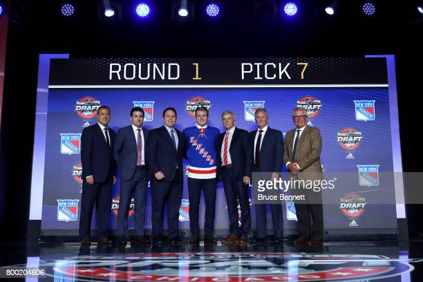 Lias Andersson poses for photos after being selected seventh overall by the New York Rangers during the 2017 NHL Draft at the United Center on June...