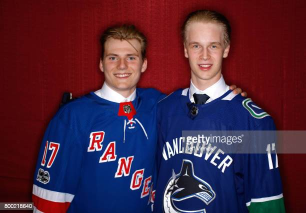 Lias Andersson seventh overall pick of the New York Rangers and Elias Pettersson fifth overall pick of the Vancouver Canucks pose for a portrait...