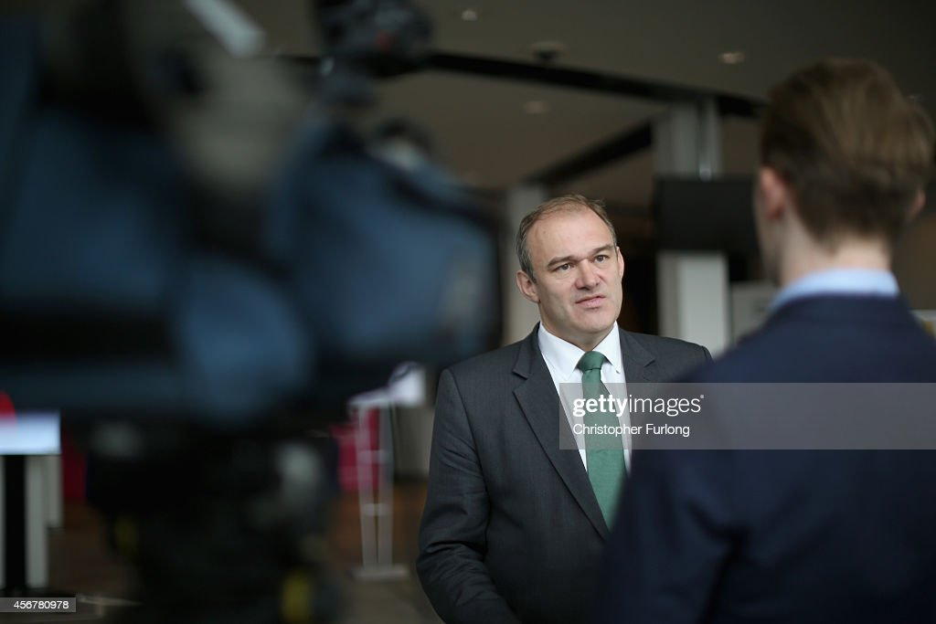 Lib Dem Energy Secretary <a gi-track='captionPersonalityLinkClicked' href=/galleries/search?phrase=Ed+Davey&family=editorial&specificpeople=3400519 ng-click='$event.stopPropagation()'>Ed Davey</a> takes part in a television interview during the fourth day of the Liberal Democrat Autumn conference at the SECC on October 6, 2014 in Glasgow, Scotland. Lib Dem Energy Secretary <a gi-track='captionPersonalityLinkClicked' href=/galleries/search?phrase=Ed+Davey&family=editorial&specificpeople=3400519 ng-click='$event.stopPropagation()'>Ed Davey</a> will later address delgates where he is expected to announce a U-turn on the party's stance on airport expansion.